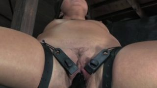 Flogged bdsm slut pussy lips stretched and sh