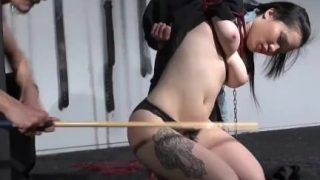 Japanese spanking in asian suspension bondage