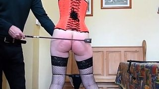 Cane and pegs on cunt lips